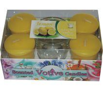 Świece Votive A'4 + Szklanka - Lemon