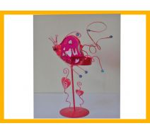 Świecznik różowy love