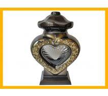 Znicz serce LS3 szkło róża złoto