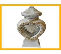 Znicz serce LS3 szkło róża biały