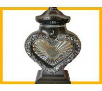 Znicz serce LS1 szkło róża srebro