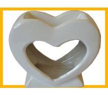 Kominek ceramiczny serce biały