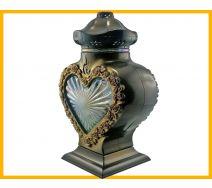 Znicz serce LS1 szkło róża złoto