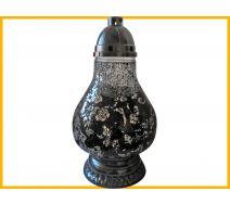Znicz Karafa Mozaika czarna srebrne róże