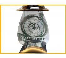 Znicz Szkło Dekor Zegar złoto