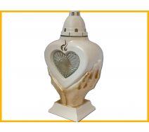 Znicz Serce LS3 Dłonie biało złoty