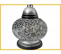Znicz Waza Mozaika srebrno-biała czarne różyczki + wkład