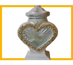Znicz serce LS1 szkło róża biały