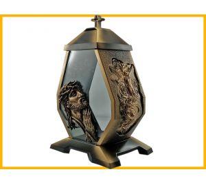Znicz Kapliczka szkło Jezus złoto
