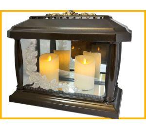 Znicz lampion Panteon Róża złoto+2 świece led